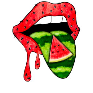 Wassermelone Zunge Lippen