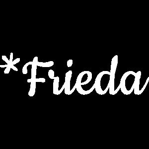 Mädchenname Frieda als Schriftzug auf Babykleidung