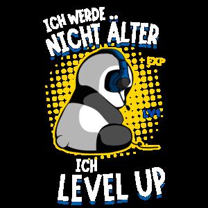 Gaming Panda Zockender Bär Level Up älter werden