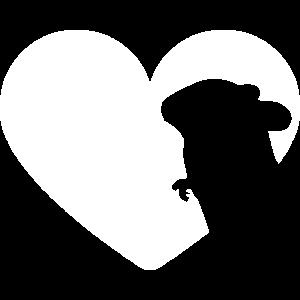 Maus Silhouette im Herz Liebe für Nager für