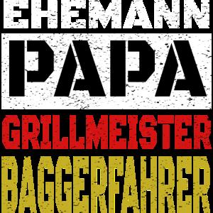 Papa Vatertag Grillmeister Baggerfahrer Geschenk