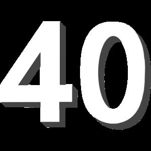 40 weiß schattier, 40. geburtstag
