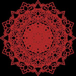Mandala Blume in orientalischen Details rot