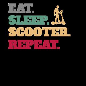 Essen Schlafen E-Scooter Elektroroller Wiederholen