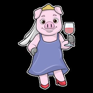 Schwein als Braut mit Schleier & Rotwein