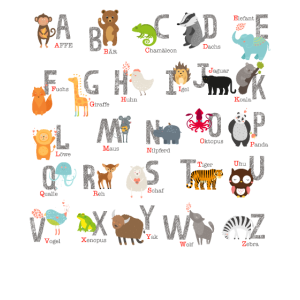 Kinder Shirt Schuleinführung Tier Alphabet