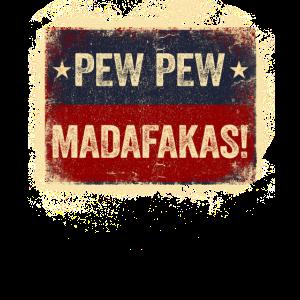 Pew Pew Madafakas Crazy Katze mit Pistole Vintage