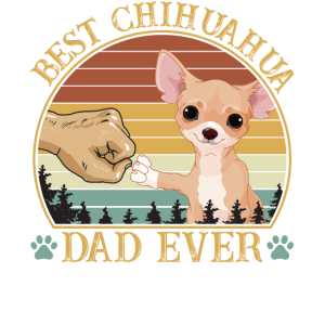 Best Chihuahua Dad Ever Vintage Retro Sunset