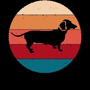 Dackelhund Dackel Hund Dackelwelpe Geschenk Retro