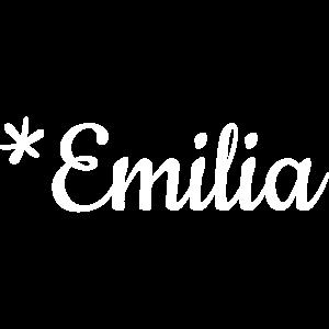 Mädchenname Emilia als Schriftzug auf Babymode