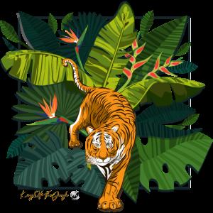 Tiger und Dschungel Quadrat Abbildung