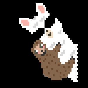 Alpaka mit Faultier Pixel Art Lama Vintage