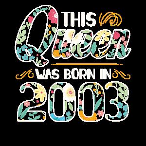 2003 Jahrgang Geboren Geburtstag Mädchen Geschenk
