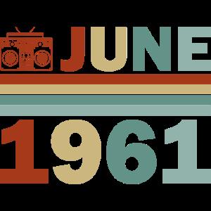 60. Geburtstag Juni Jahrgang 1961 Geschenkidee Jun