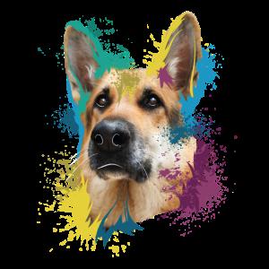 German Shepherd Splash Art Dog Lover
