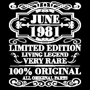 June 1981 Jahr Limited Edition Geburtstag Juni