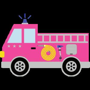 Rosa Feuerwehrauto mit Sternen