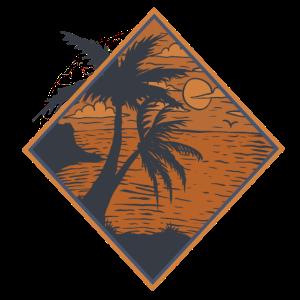 Palme VintageI Sonneuntergang Meer
