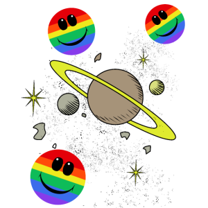 Umlaufbahn Universum LGBT Planeten Regenbogenfahne