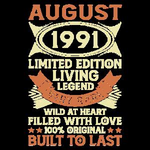 30. Geburtstag Geschenk August 1991 30 Jahre