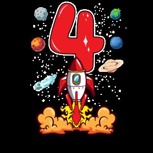 Rakete Astronaut 4 Jahre 4. Geburtstag Weltraum