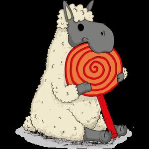 Alpaka Lama mit Lolli flauschiges Schaf