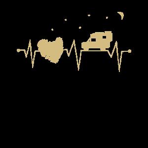 Pickup Camping Herzschlag mit Herz bei Nacht
