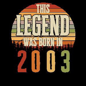 18. Geburtstag Vintage 2003 Retro