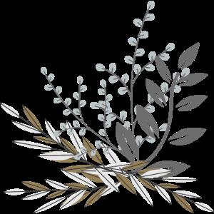 Blumen Zweig taupe grau