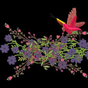 Kolibri Roat mit Blumen