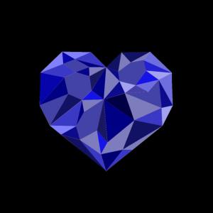 Geometrisches Herz blau