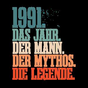 1991 Jahrgang Männer 30. Geburtstag Geschenk