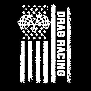 Drag racing American Flag, drag racer