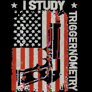 Ich Studie Triggernometry Gun amerikanische Flagge auf dem Rücken