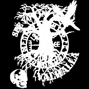 Wikinger Walhalla Totenkopf Rabe nordische Rune