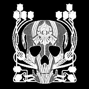Jugendstil Totenkopf mit Spitze, Lilien Dekor