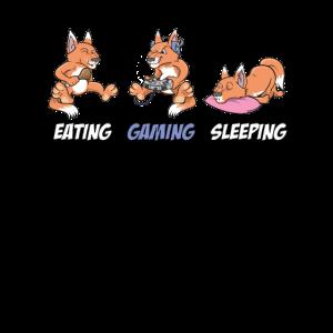 Fuchs Eating Gaming Sleeping Gamer Nerd PC