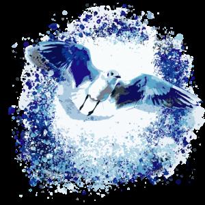 Möwe, illustration, fliegen, Vögel, blau, Graffiti