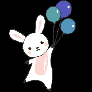 Hase fliegt Ballons oben süße Tiere für Kinder