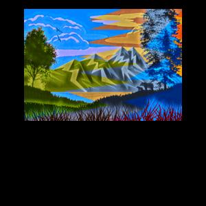 Berglandschaft Gemälde Bergsteiger Bild