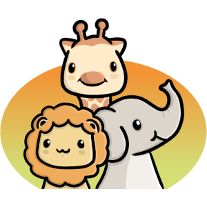 Süße Tiere Safari Löwe Giraffe und Elefant Kinder