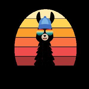 Alpaka mit Mütze - Lama Vintage