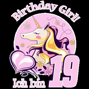 Kinder nineteen Geburtstag Mädchen Einhorn 19
