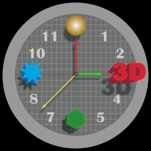 3D O' Clock with Objects - Grey/Black, Poster'