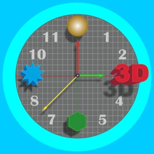 3D O' Clock with Objects - Blue/Blue, Poster