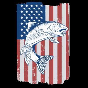 Amerikanische Flagge USA Angeln Angelsport Fischen