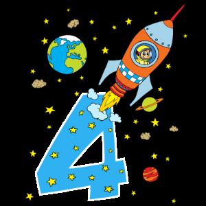 Rakete 4 Jahre Geburtstag Kinder