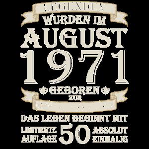 50. Geburtstag August Jahrgang 1971 Geschenkidee