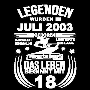 18 Geburtstag Jungen Mädchen Juli 2003 18ter Jahre