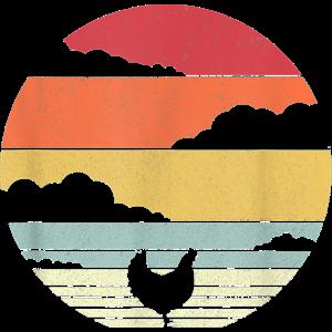 Huhn Sunset Vintage Witziges Retro Style